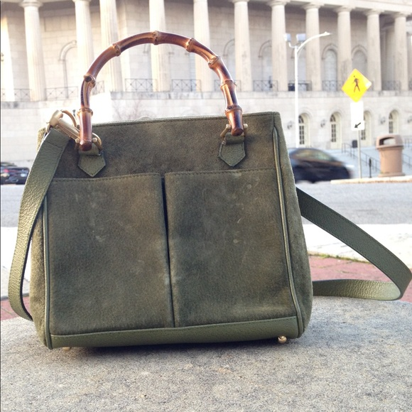 Gucci Handbags - Gucci Vintage Bamboo Suede Moss Green 2 way Purse